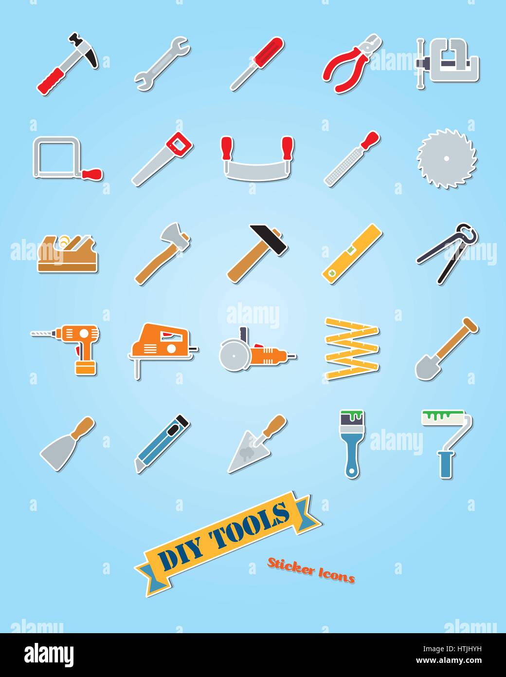 Collection of 25 do it yourself tools sticker icons - Stock Vector