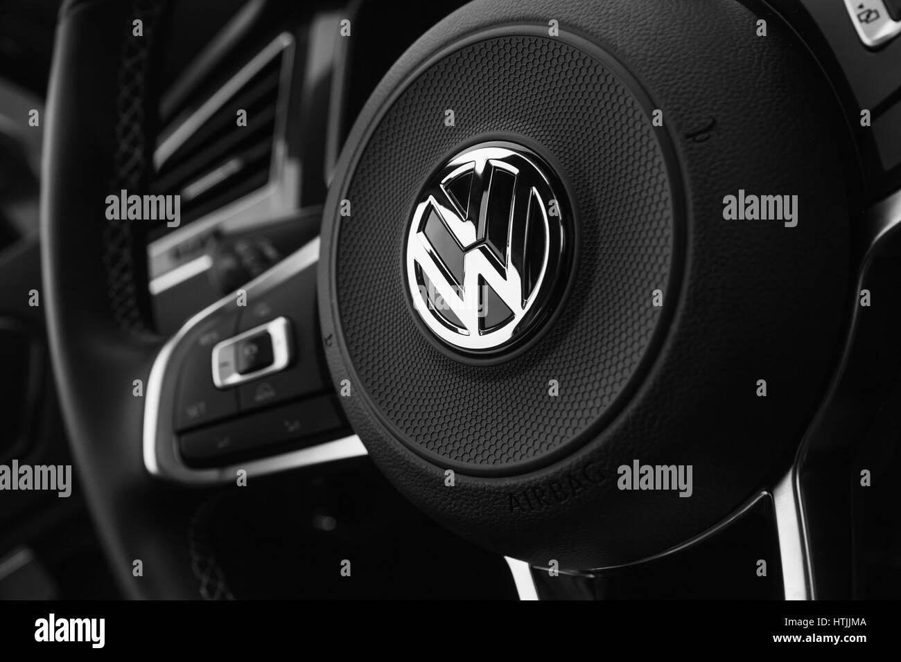 Hamburg, Germany - February 10, 2017: Black steering wheel with logotype of second generation Volkswagen Tiguan, - Stock Image