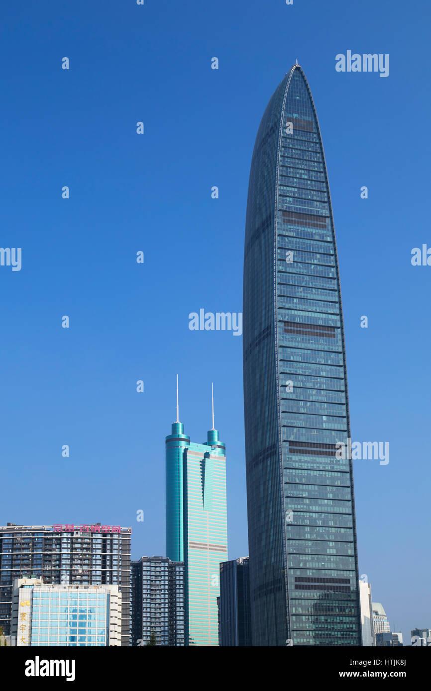 KK100 (KingKey 100) and Shun Hing Square skyscrapers, Shenzhen, Guangdong, China - Stock Image