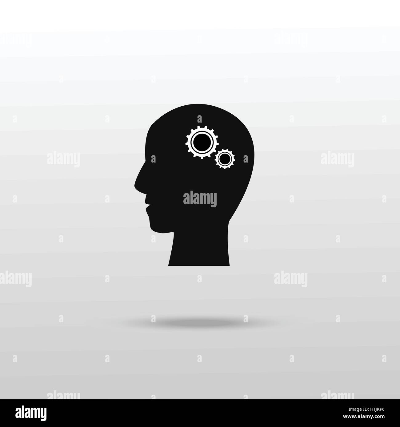 Gears in human head icon. Simple illustration of gears in human head vector icon for web - Stock Vector