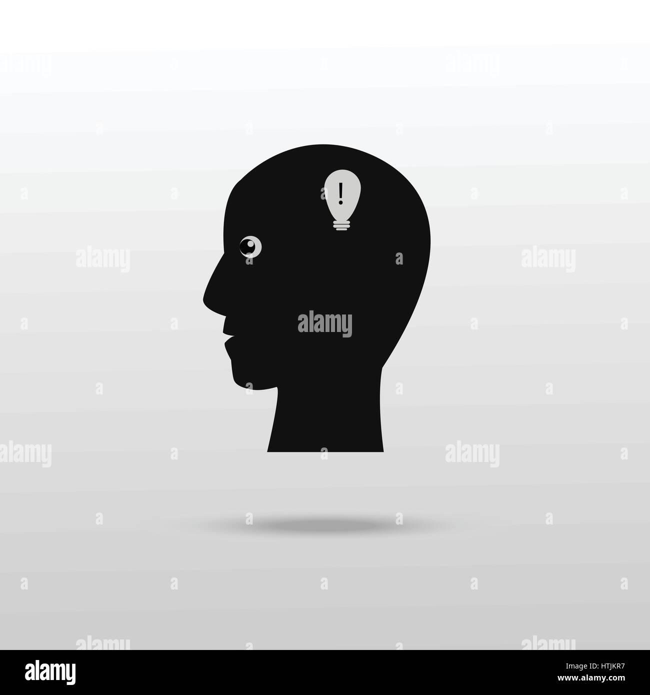 Human head with idea icon - Stock Image