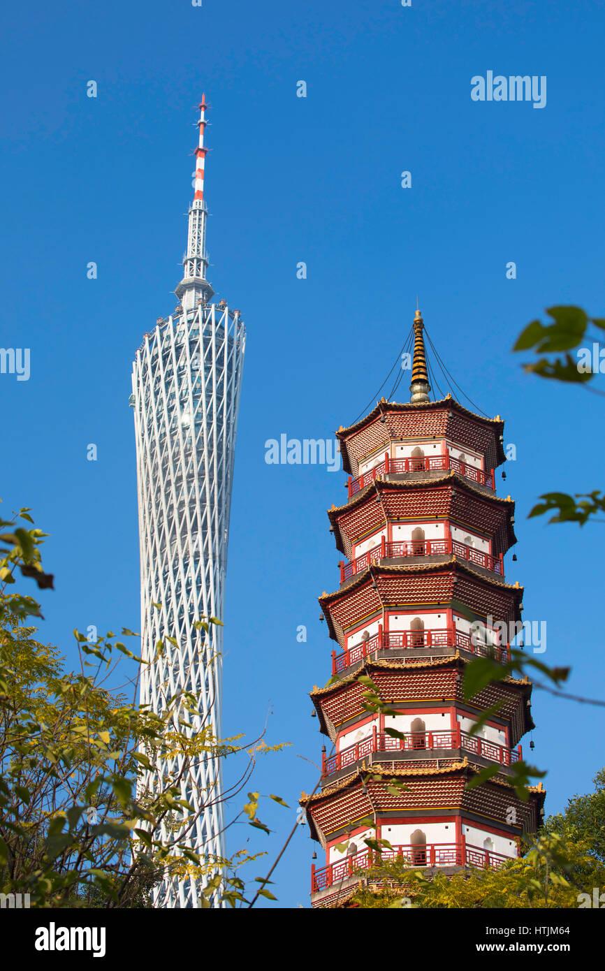 Canton Tower and Chigang Pagoda, Tianhe, Guangzhou, Guangdong, China - Stock Image