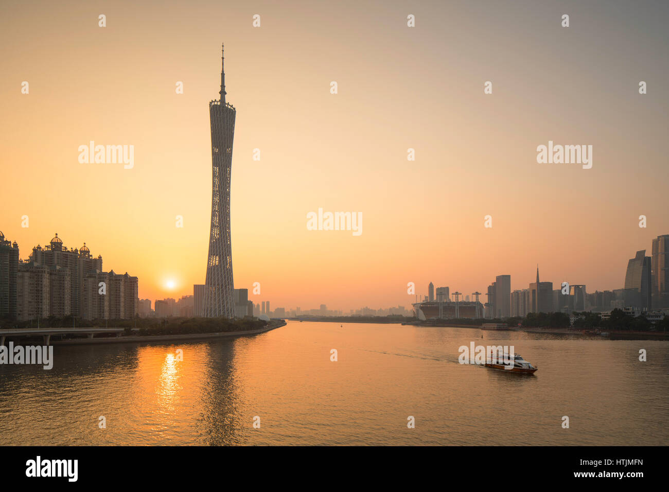 Canton Tower at sunset, Tianhe, Guangzhou, Guangdong, China - Stock Image