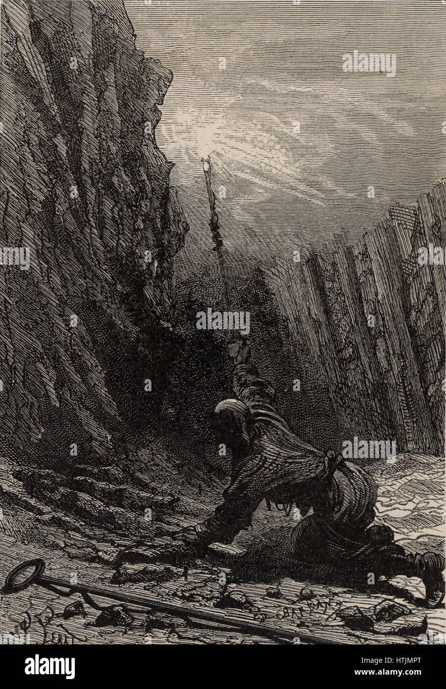 The Penitent, or Fireman. This was the miner who, swathed in damp sacking, undertook the task of igniting pockets - Stock Image