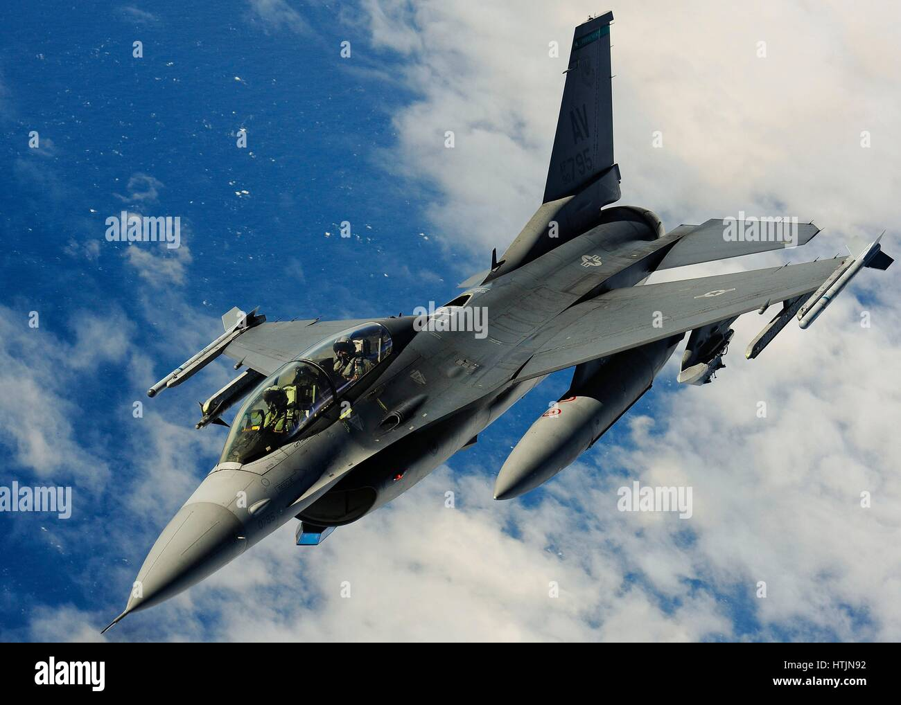 A U.S. Air Force F-16 Fighting Falcon fighter aircraft inflight after refueling in flight January 27, 2017 over - Stock Image