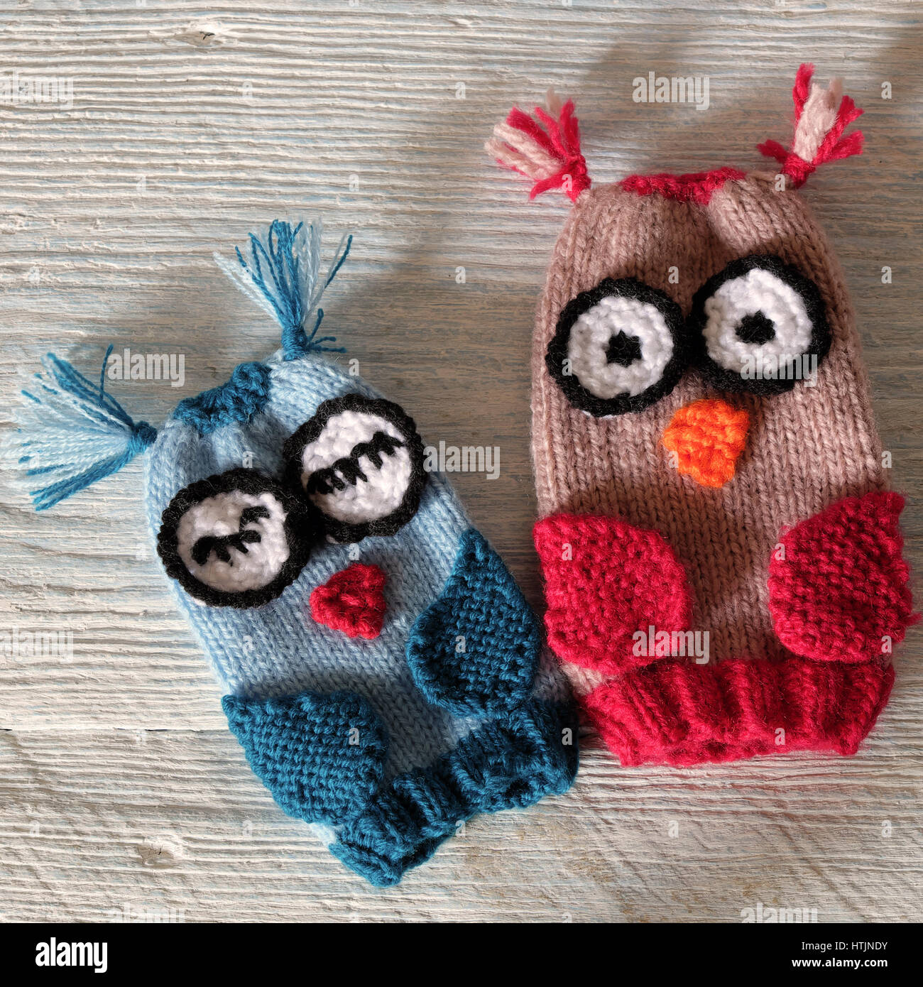 Hand puppets for children day, colorful owl puppet knit from yarn ...
