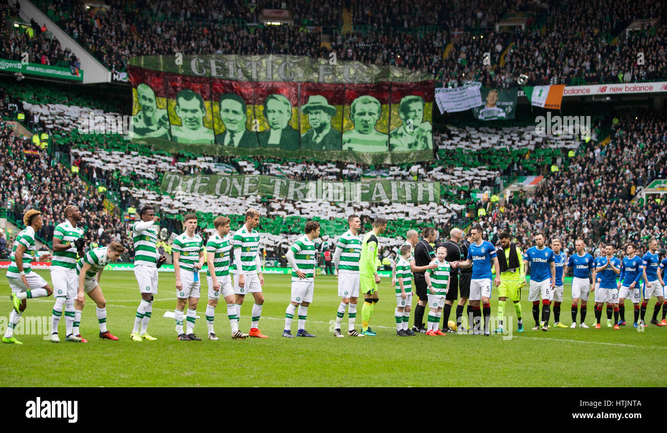 71063a44a Celtic and Rangers players shake hands before during the Ladbrokes Scottish  Premiership match at Celtic Park