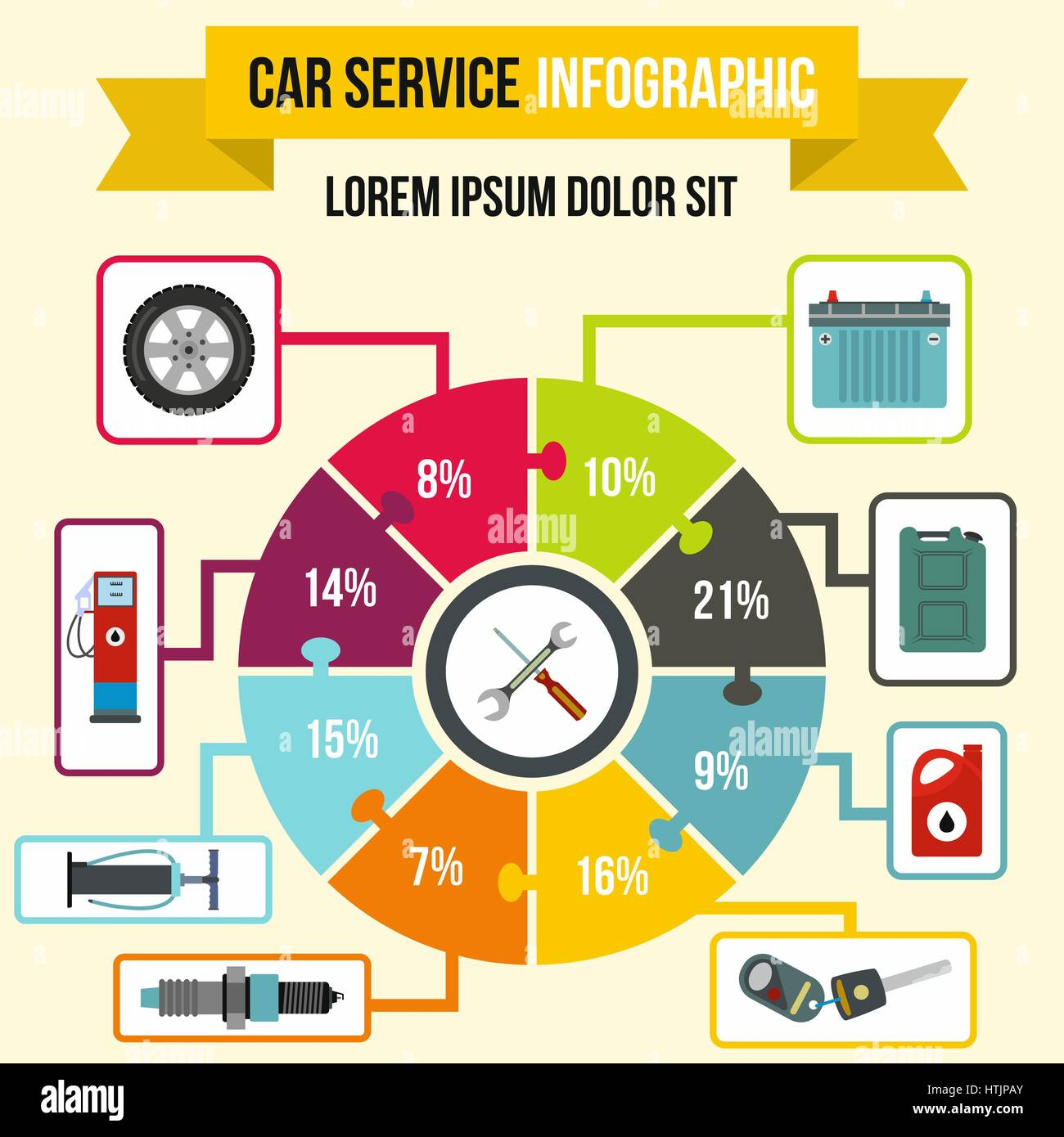 Car service Infographic, flat style - Stock Image