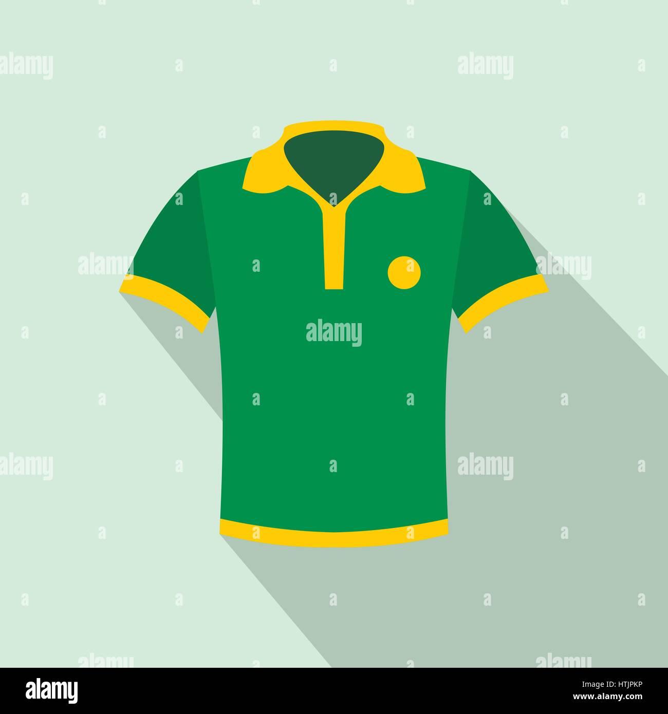 Brazilian yellow and green soccer shirt icon - Stock Vector