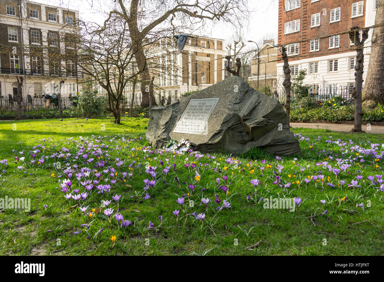 Conscientious Objectors Stone, Tavistock Square, London - Stock Image