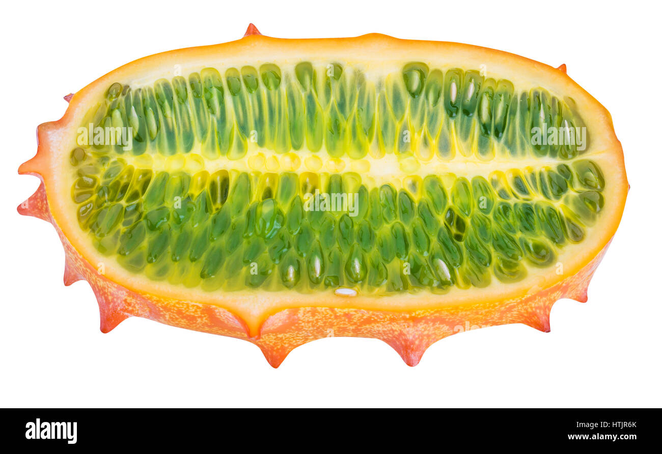 Kiwano, horned melon isolated on white background with clipping path - Stock Image