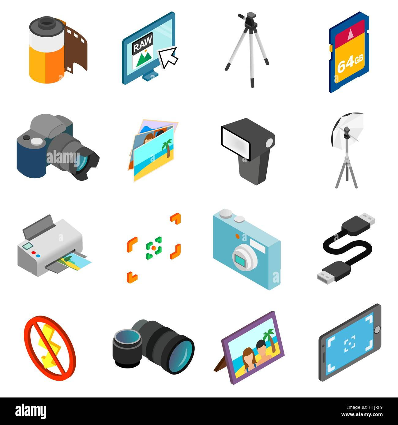 Photography icons set, isometric 3d style Stock Vector