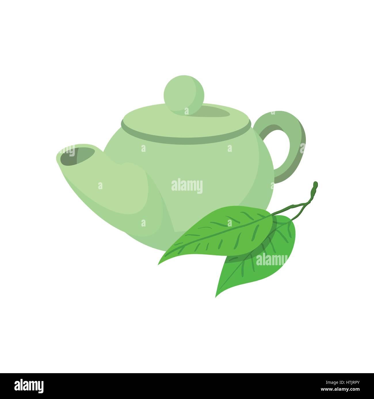 Teapot green tea icon, cartoon style  - Stock Vector