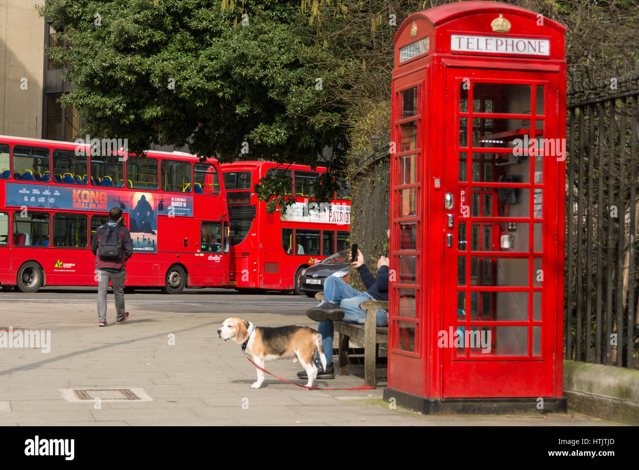 A Pod Works red telephone kiosk office in Russell Square, London, England, UK - Stock Image