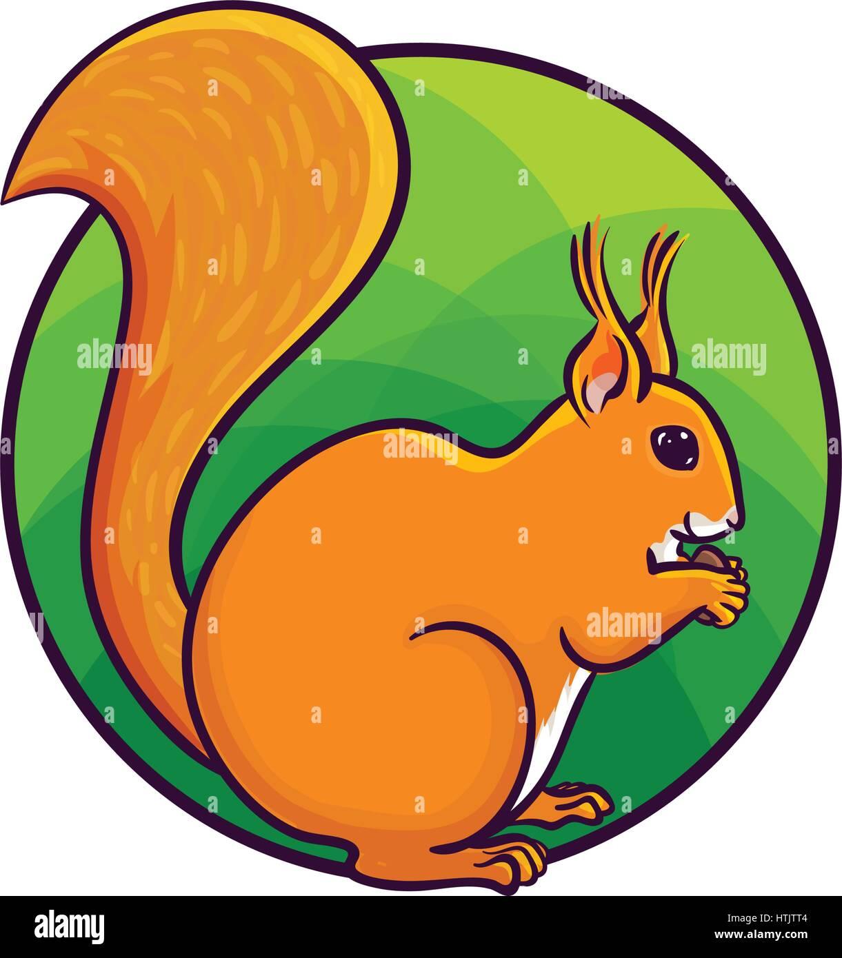 Animal Art Cute Cartoon Style Hand Drawn Vector Illustration Red Tree Squirrel Eating Nut