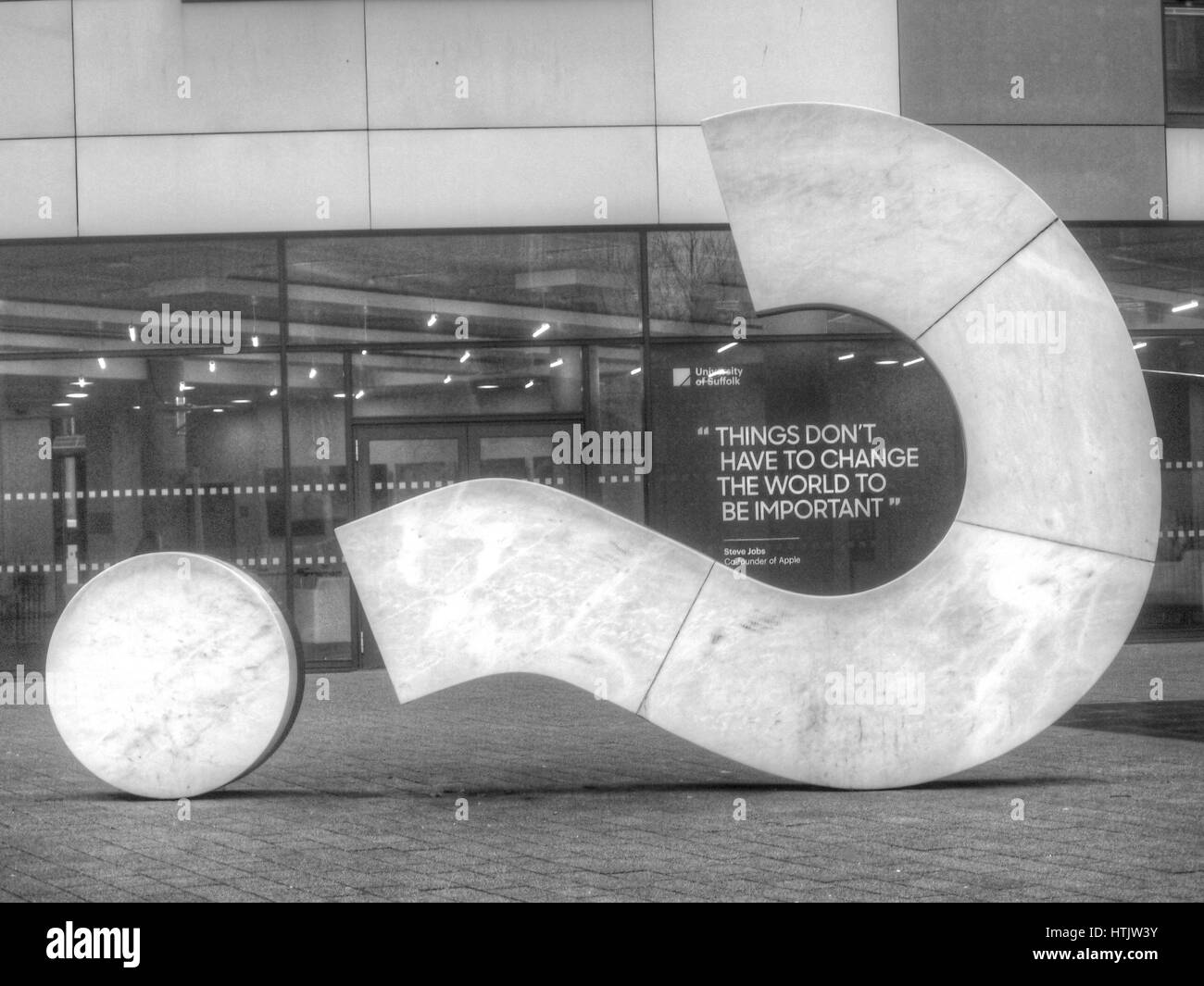Question Mark Sculpture, Ipswich town near waterfront, with 'Things Don't Have to Change the World to be - Stock Image