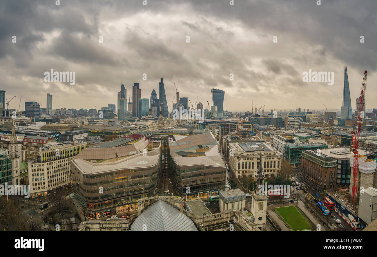 Modern architectural buildings and panoramic aerial view of urban London against a cloudy sky. View from the Dome Stock Photo