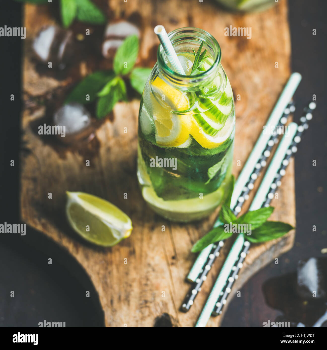 Clean eating healthy citrus sassi water in glass bottle - Stock Image