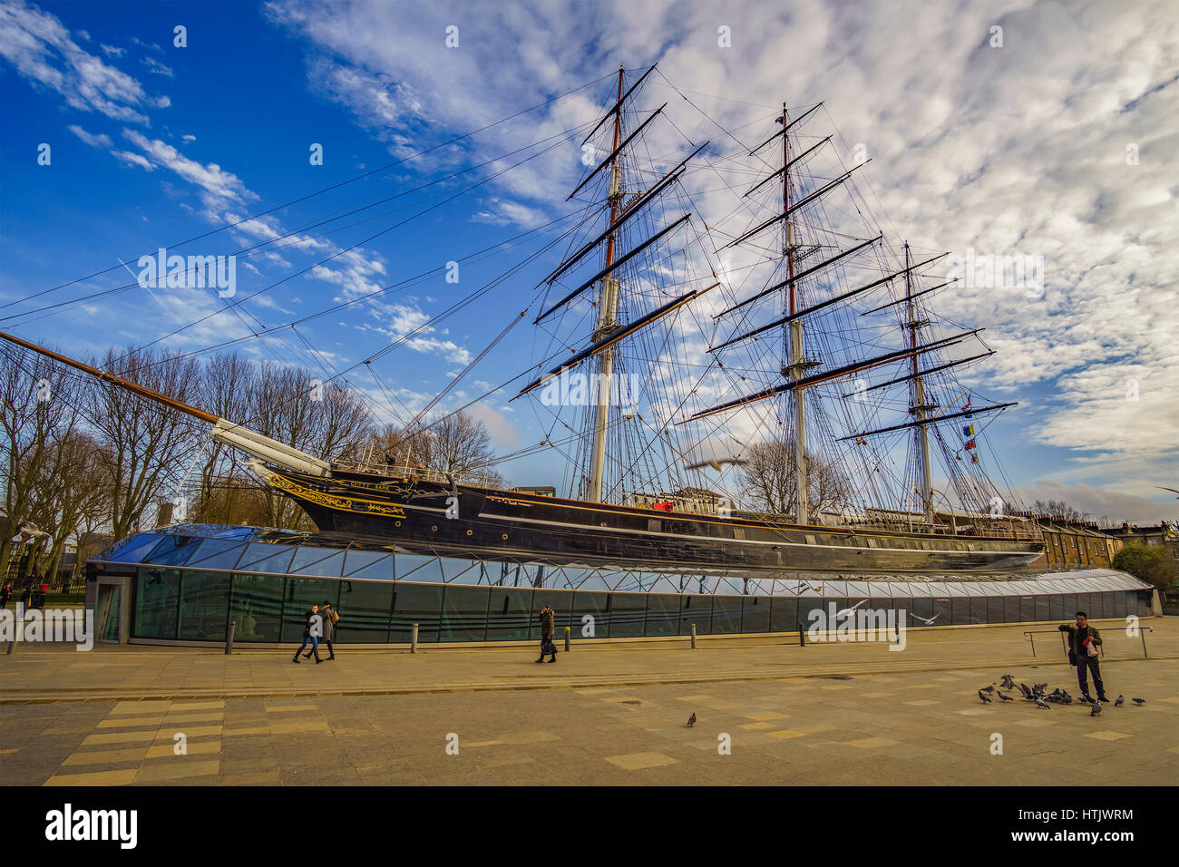 """The legendary 19th century sailing ship """"Cutty Sark"""" a tall ship on public display in Greenwich, United Kingdom. Stock Photo"""