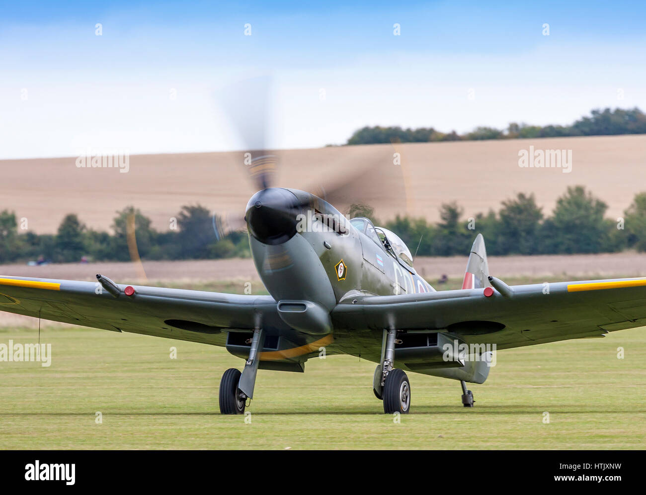 Supermarine Spitfire XVIe registration TD248 taxying on September 5th 2009 at Duxford, Cambridgeshire, UK - Stock Image