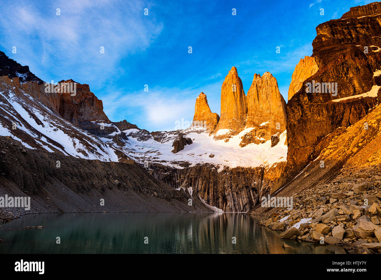 Mirador Torres at sunrise in the Torres del Paine National Park in Patagonia, Chile, South America - Stock Image