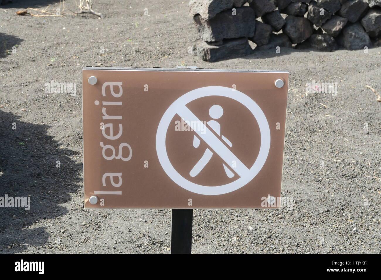 No entry sign, La Geria, Lanzarote - Stock Image