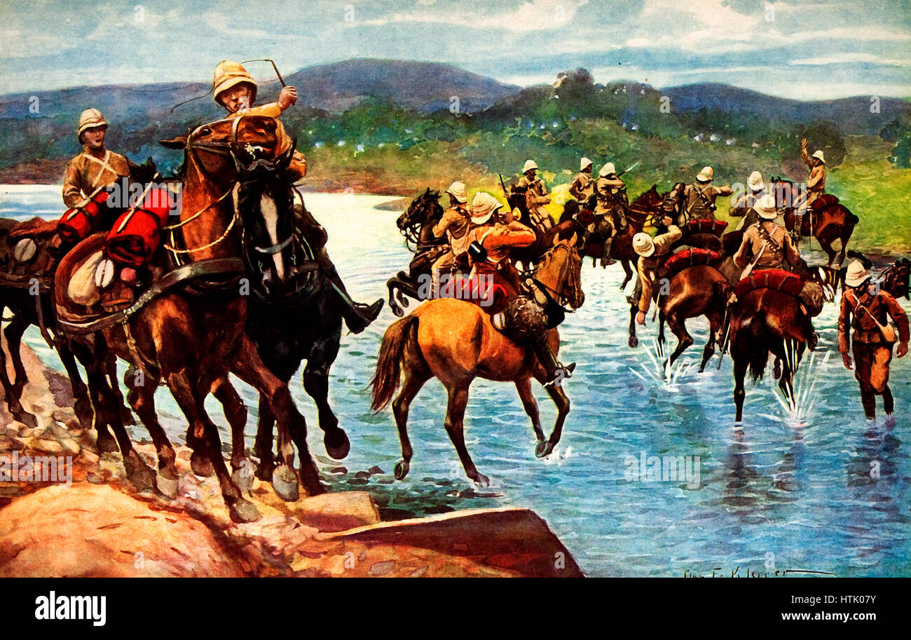 The Fourteenth and Sixty-Sixth Field Batteries crossing the Tugela under heavy fire from the Boers in Ambuscade. - Stock Image