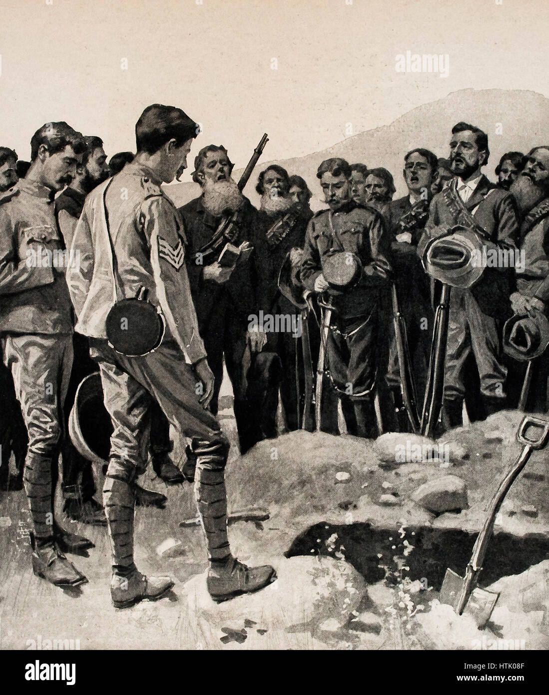 Boers singing psalms over the graves of the British dead during the Boer War, South Africa Stock Photo