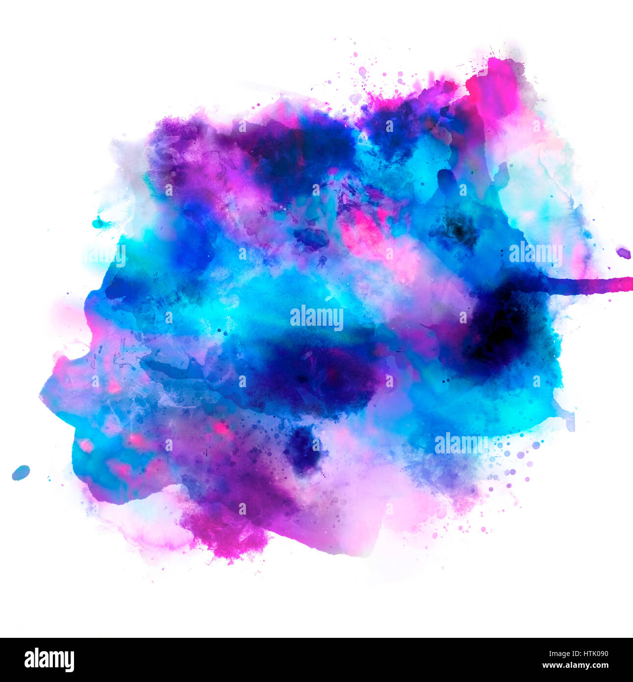 Mixed blue and magenta watercolor spots isolated on white. Background design concept - Stock Image