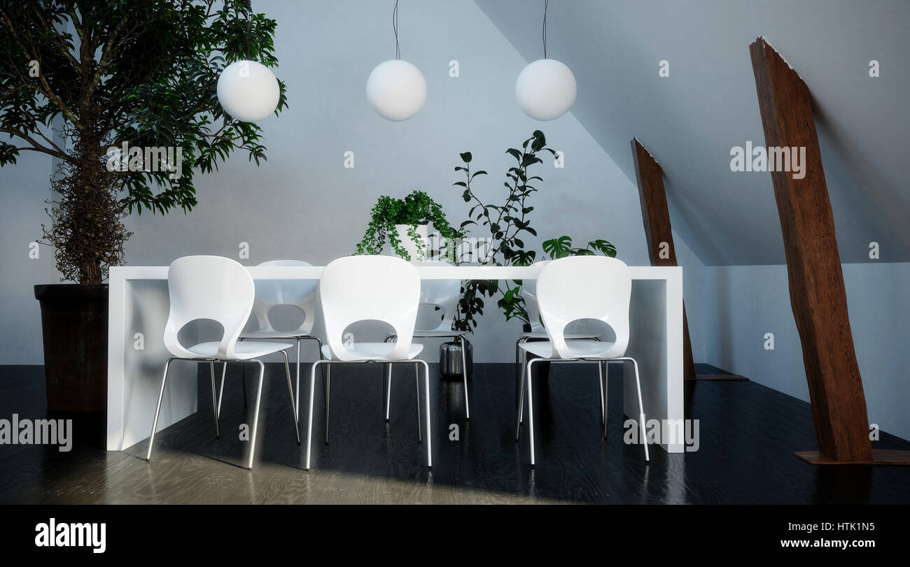 modern stylish white dining suite with simple table and molded