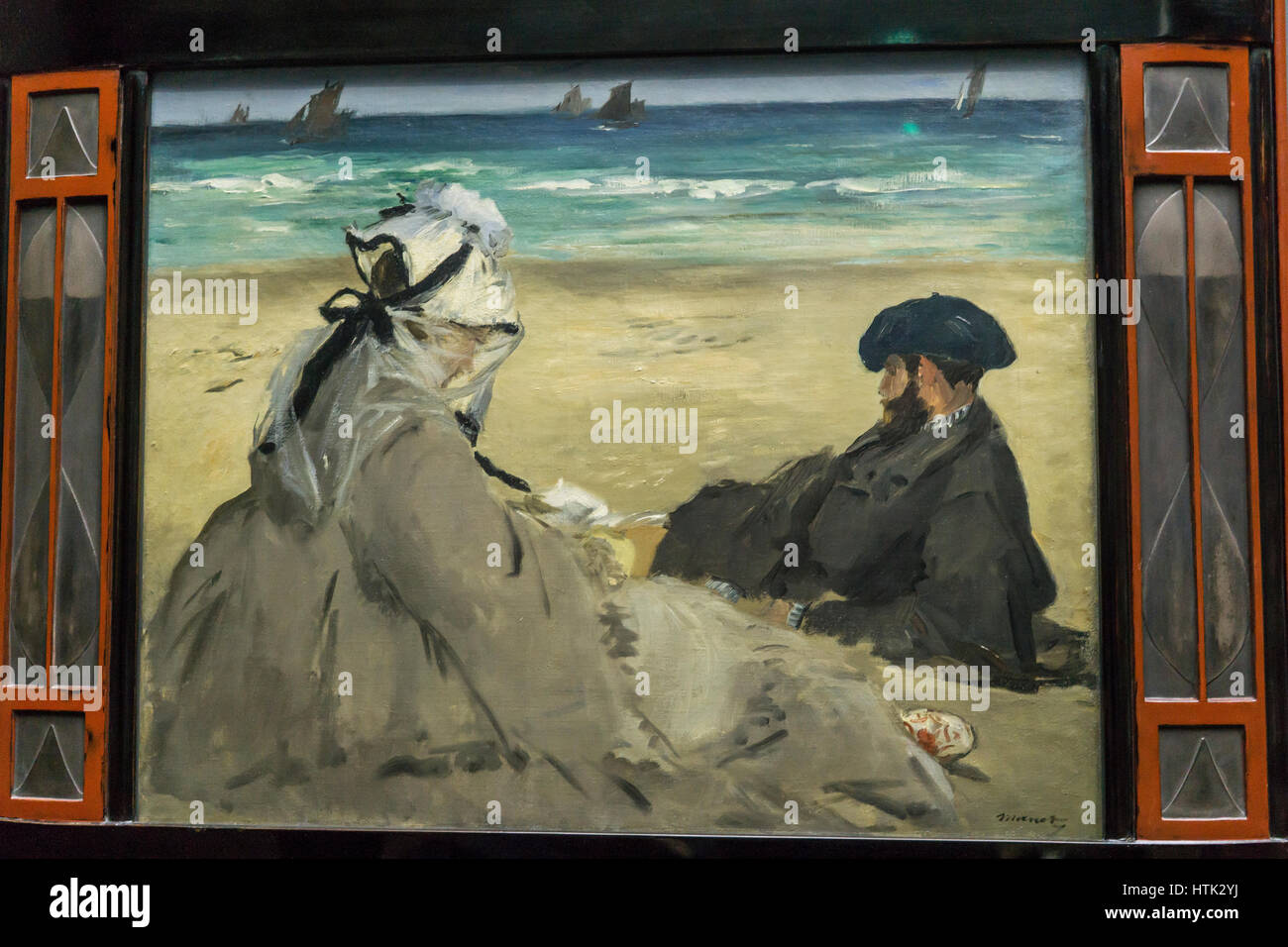 Impressionist painting at the Musee d'Orsay,Claude Monet, Paris, France. - Stock Image