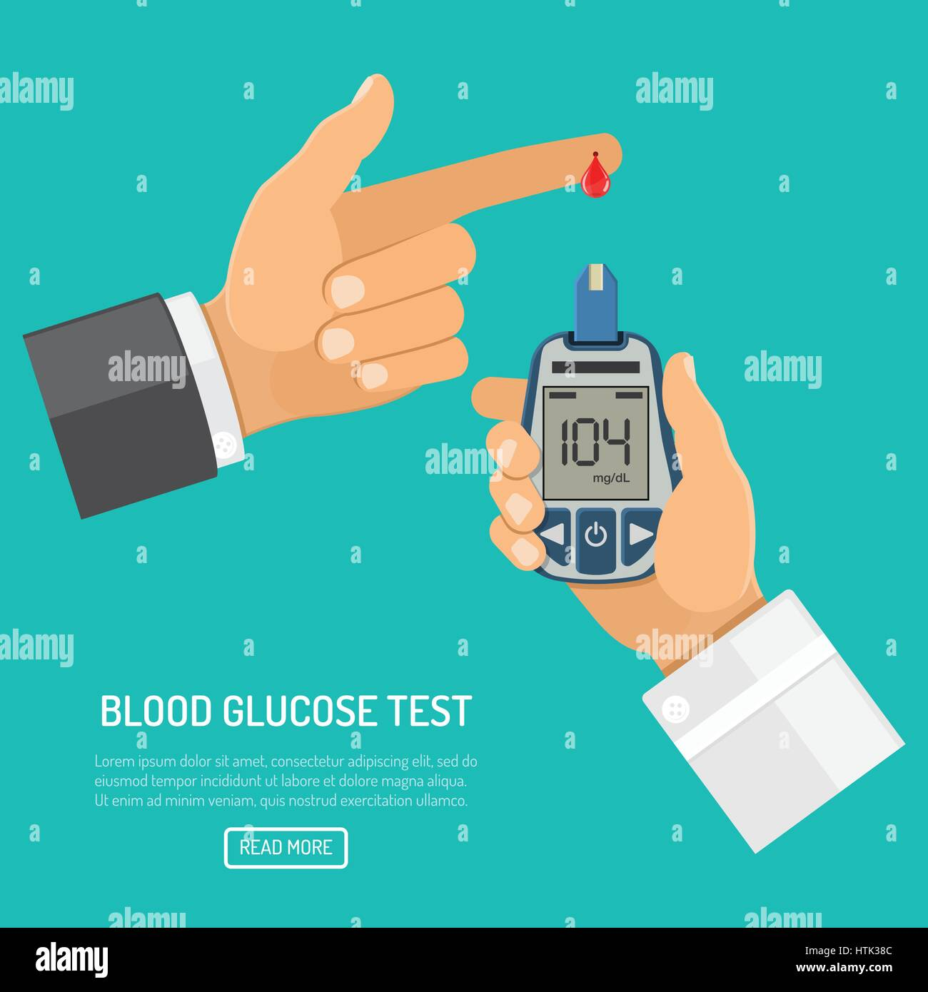 blood glucose meter in hand - Stock Image