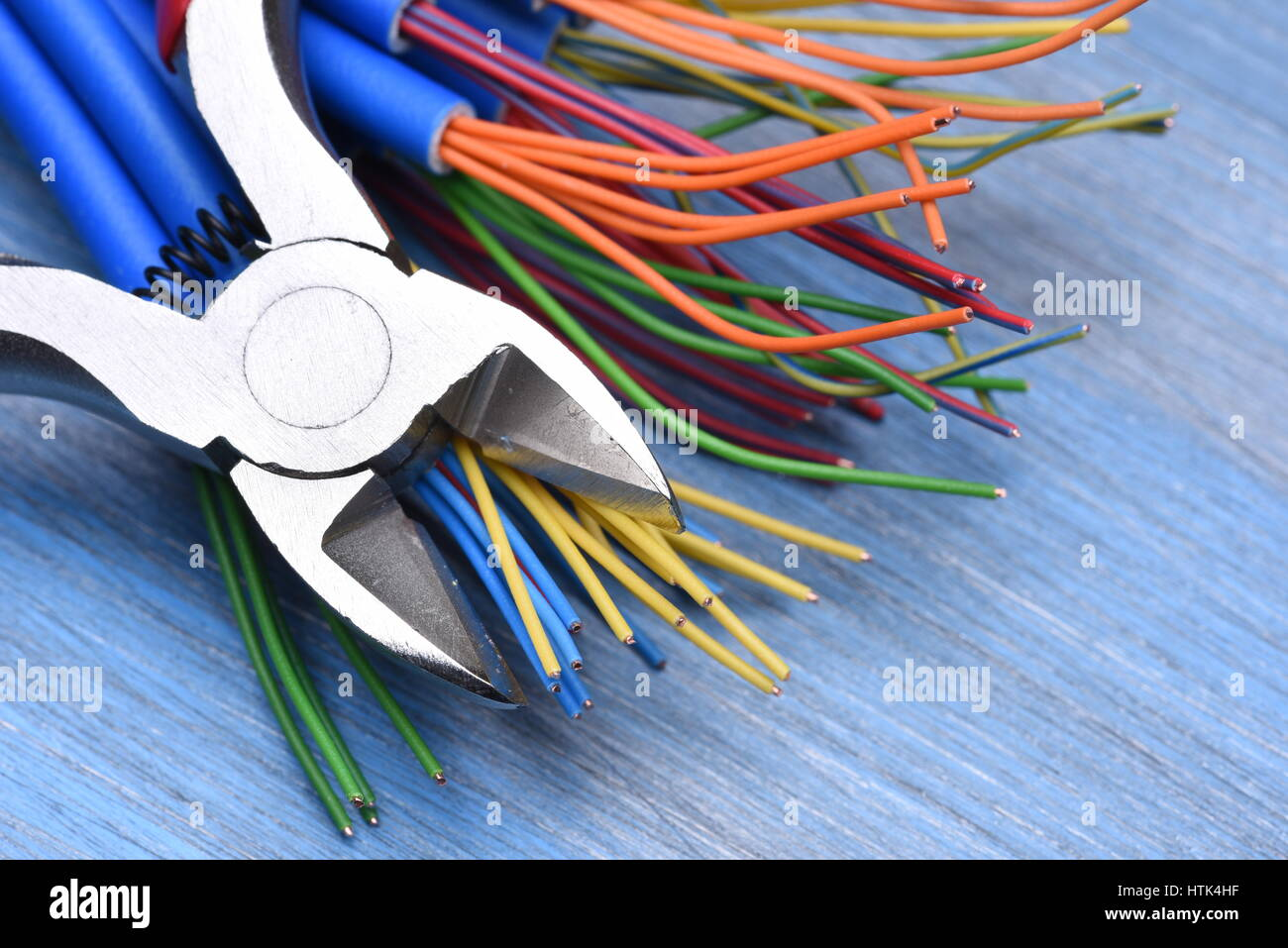 Electrical Tool And Wires On Metal Background Stock Photo Alamy