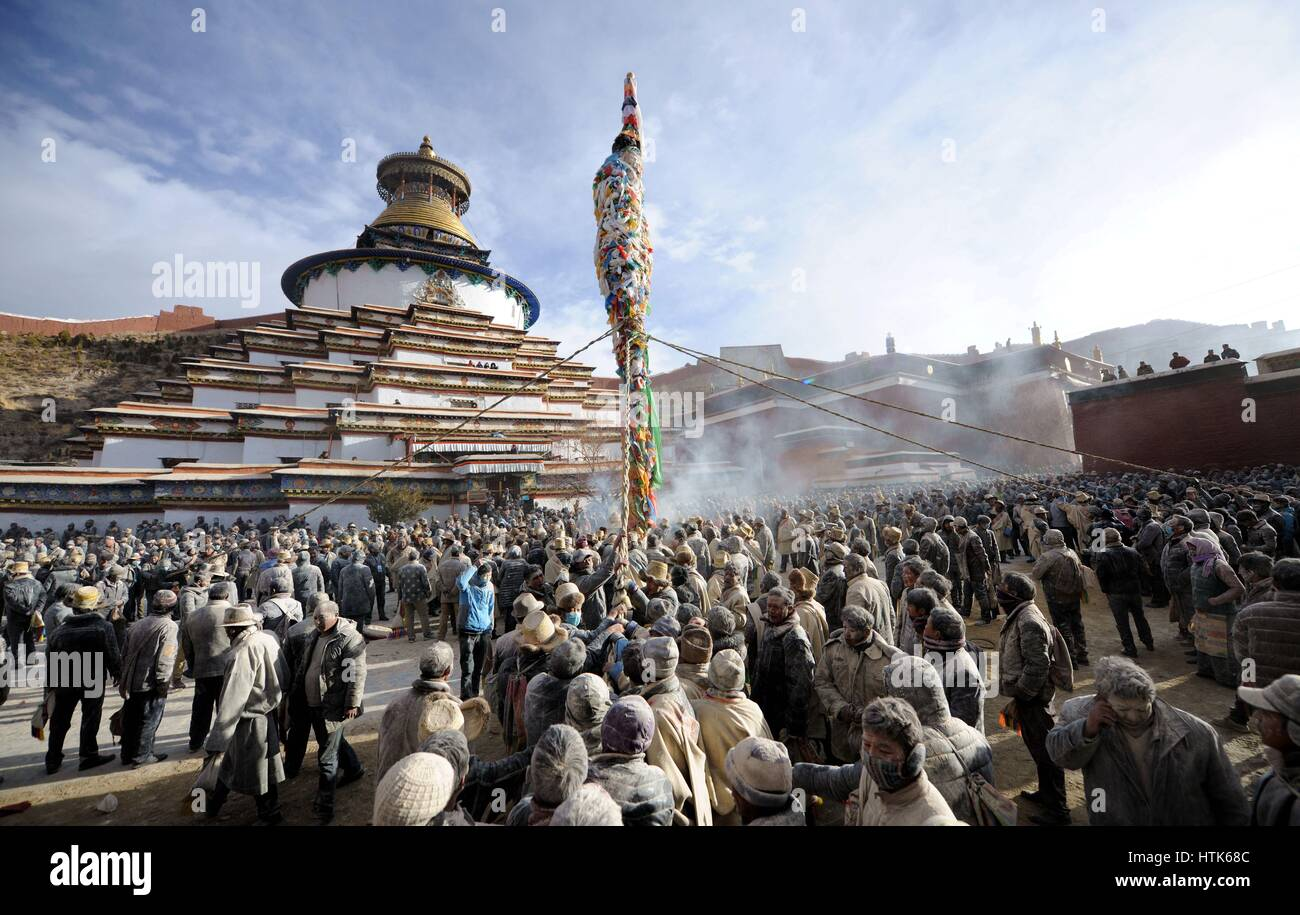 Lhasa. 12th Mar, 2017. Photo taken on March 12, 2017 shows the site of a traditional activity praying for prosperous - Stock Image