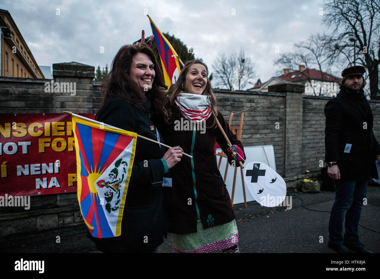 March 10, 2017 - Czechs are supporting Tibet !.Happening that happened in Prague infront of the embassy of China - Stock Image