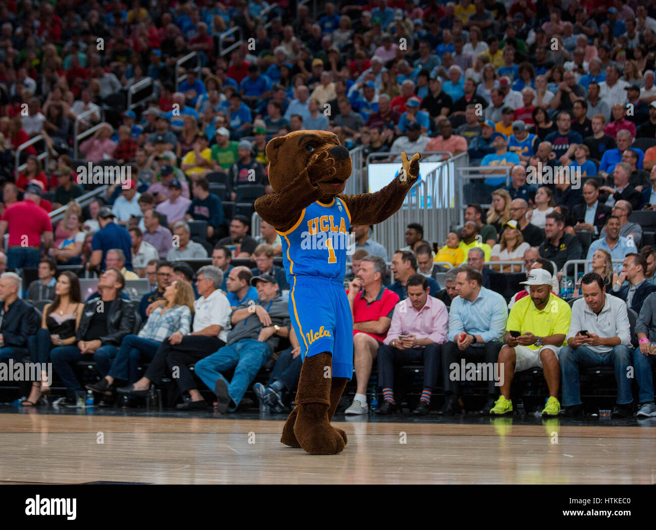 Las Vegas, NV, USA. 10th Mar, 2017. UCLA mascot Joe Bruin performs during the game between the UCLA Bruins vs Arizona Stock Photo