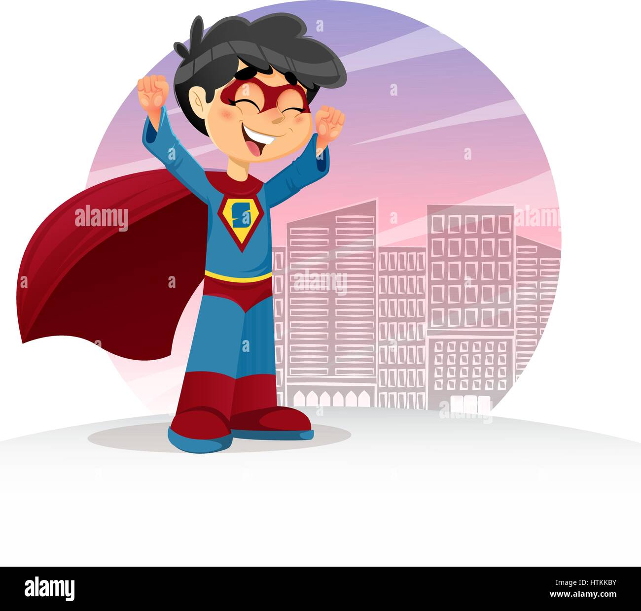 Vector Illustration of Happy Super Boy, Superhero Character - Stock Image