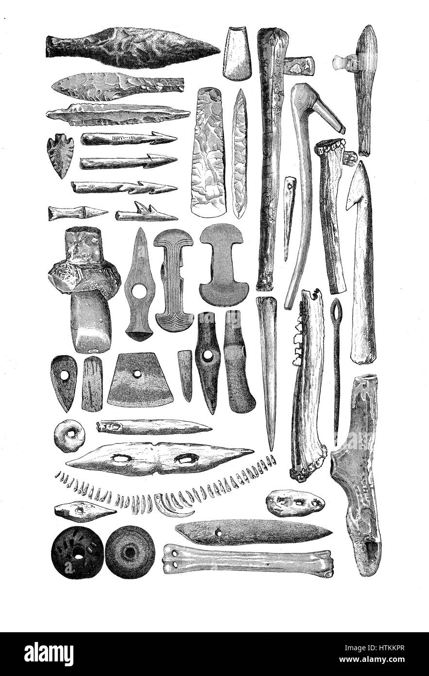 Engraving reproducing artifacts, weapons and tools made of bone and stone found in prehistorical stone age tombs - Stock Image