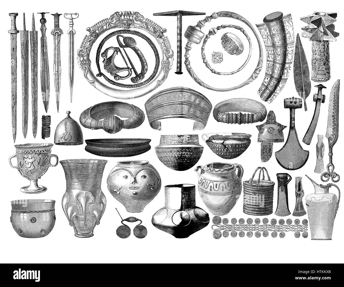 Engraving reproducing artifacts, weapons,jewelry, pottery , tools found in prehistorical tombs in Germany - Stock Image