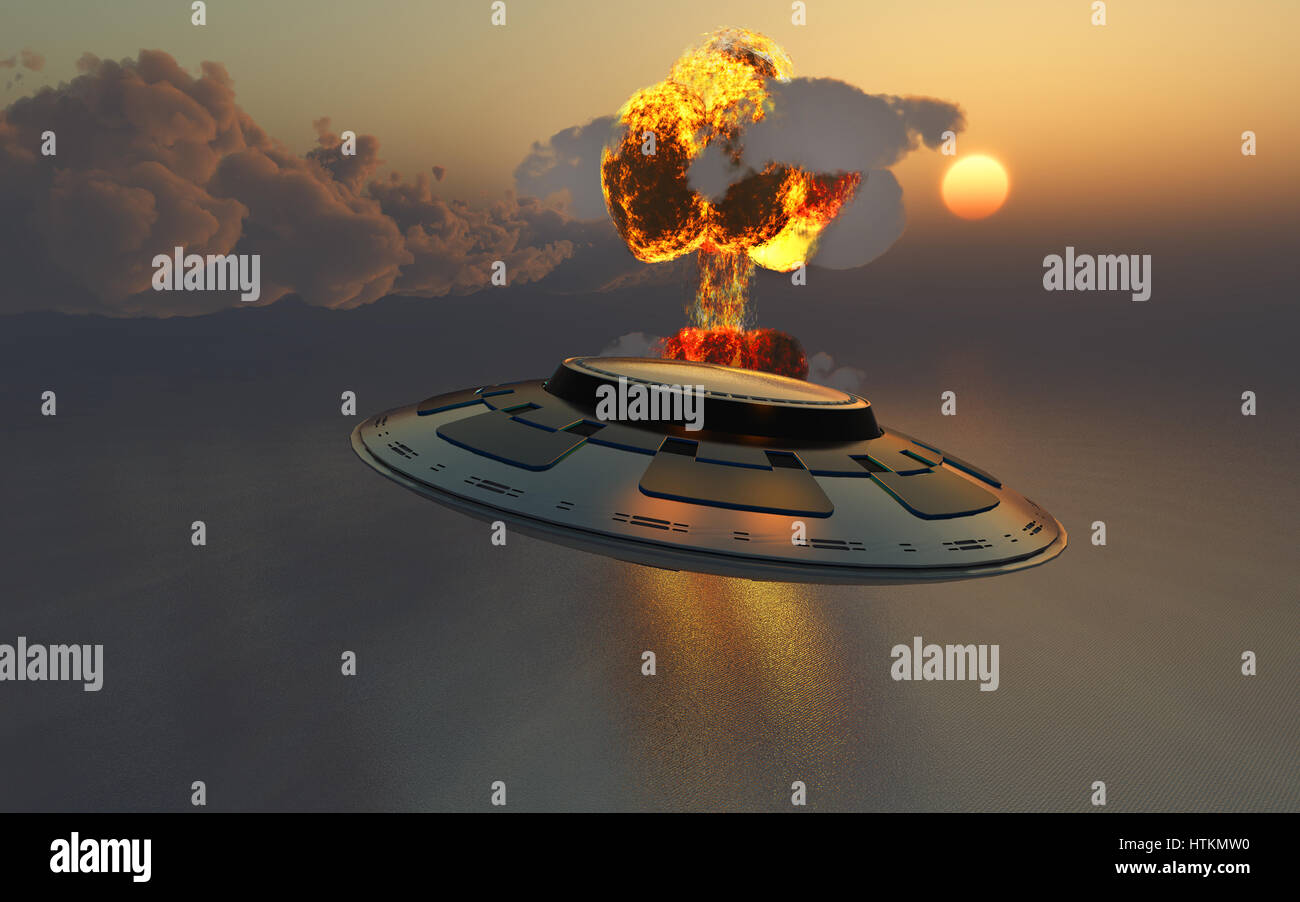 A UFO Observing A Nuclear Bomb Blast. - Stock Image