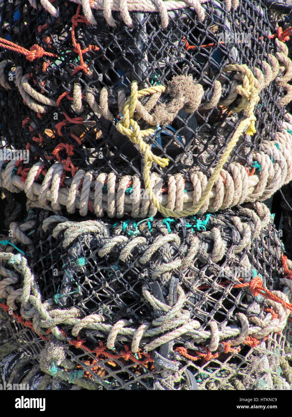Lobster pots. Abstract- full frame.' Knotted and netted.' - Stock Image