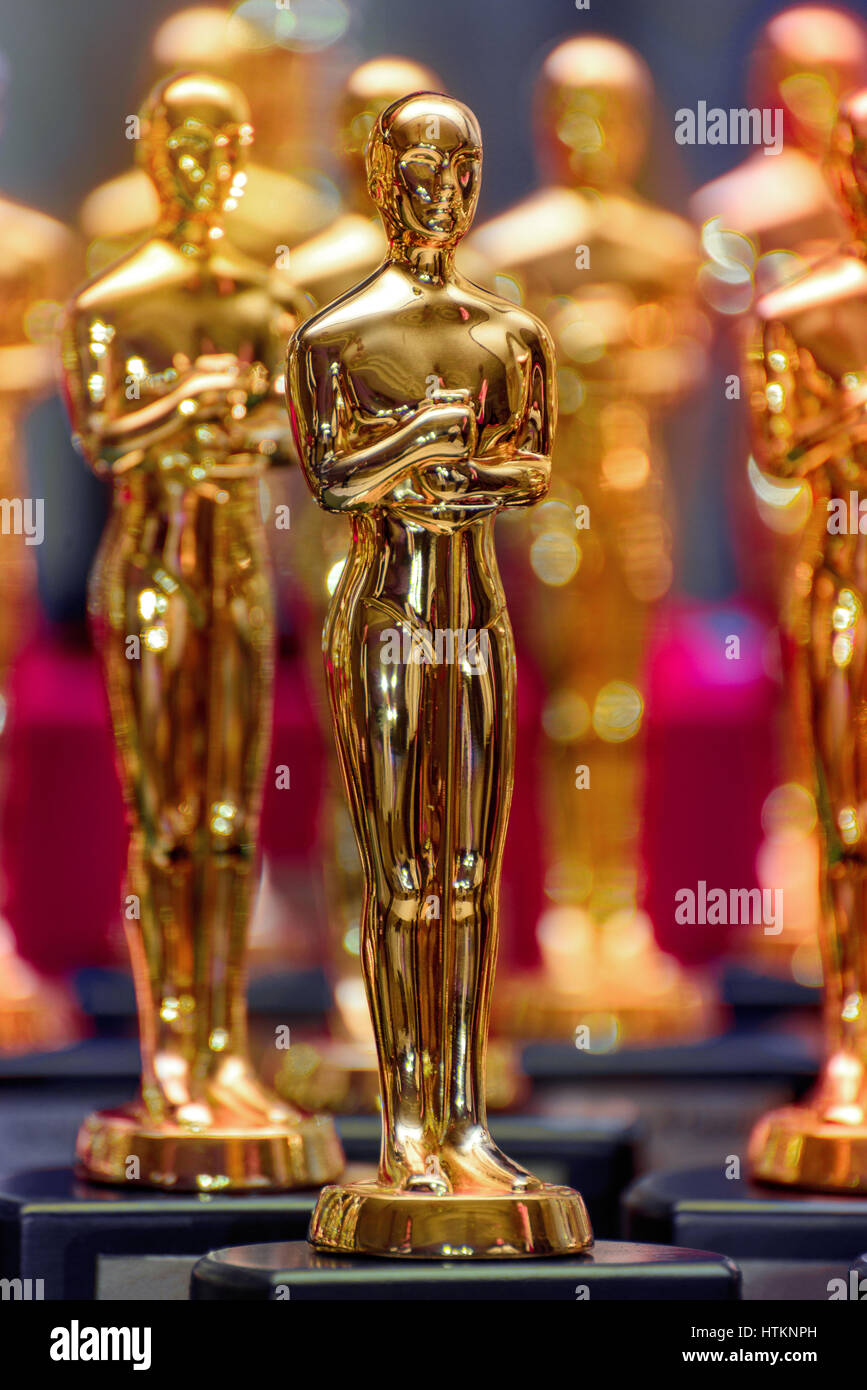 A Group of Shiny Golden Trophies - Stock Image