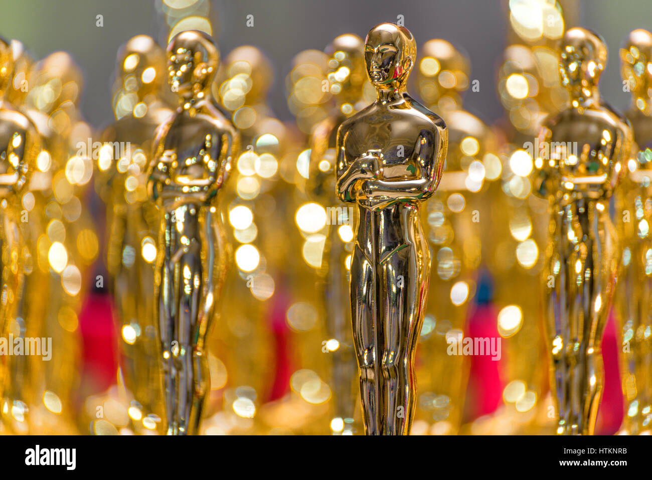 Group of Shiny Golden Trophies - Stock Image