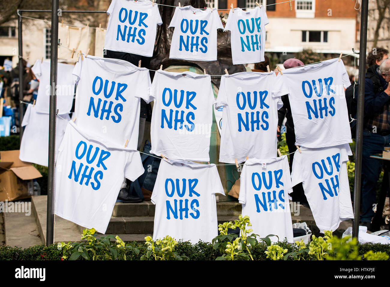 # OUR NHS rally - Thousands turn out for the national demonstration in London, to defend the NHS against government - Stock Image