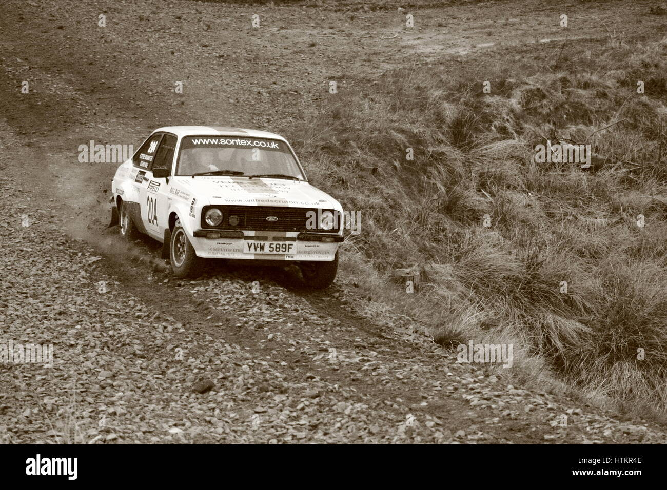 Rally car on special stage - Stock Image
