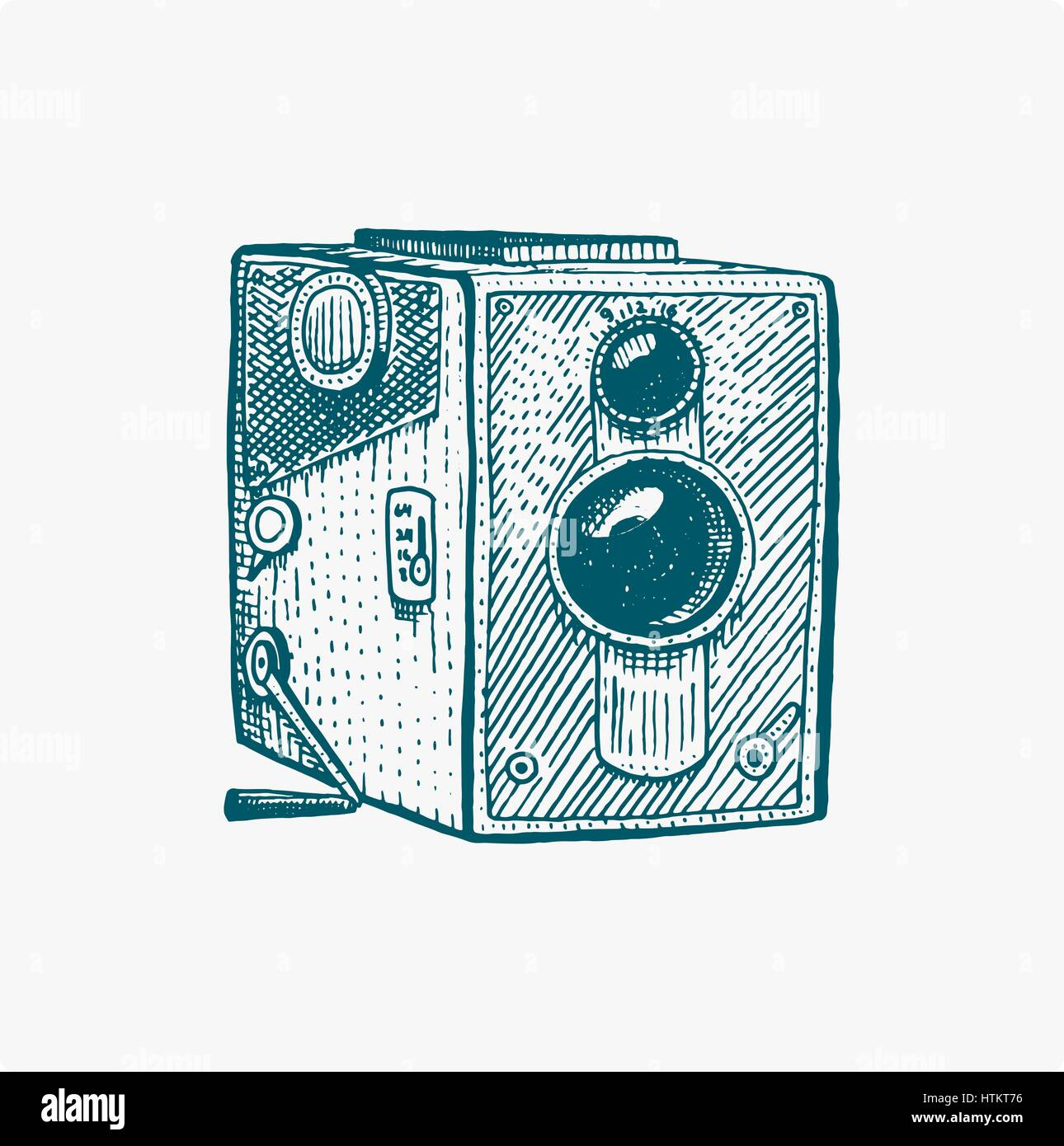 Photo movie or film camera vintage, engraved, hand drawn in