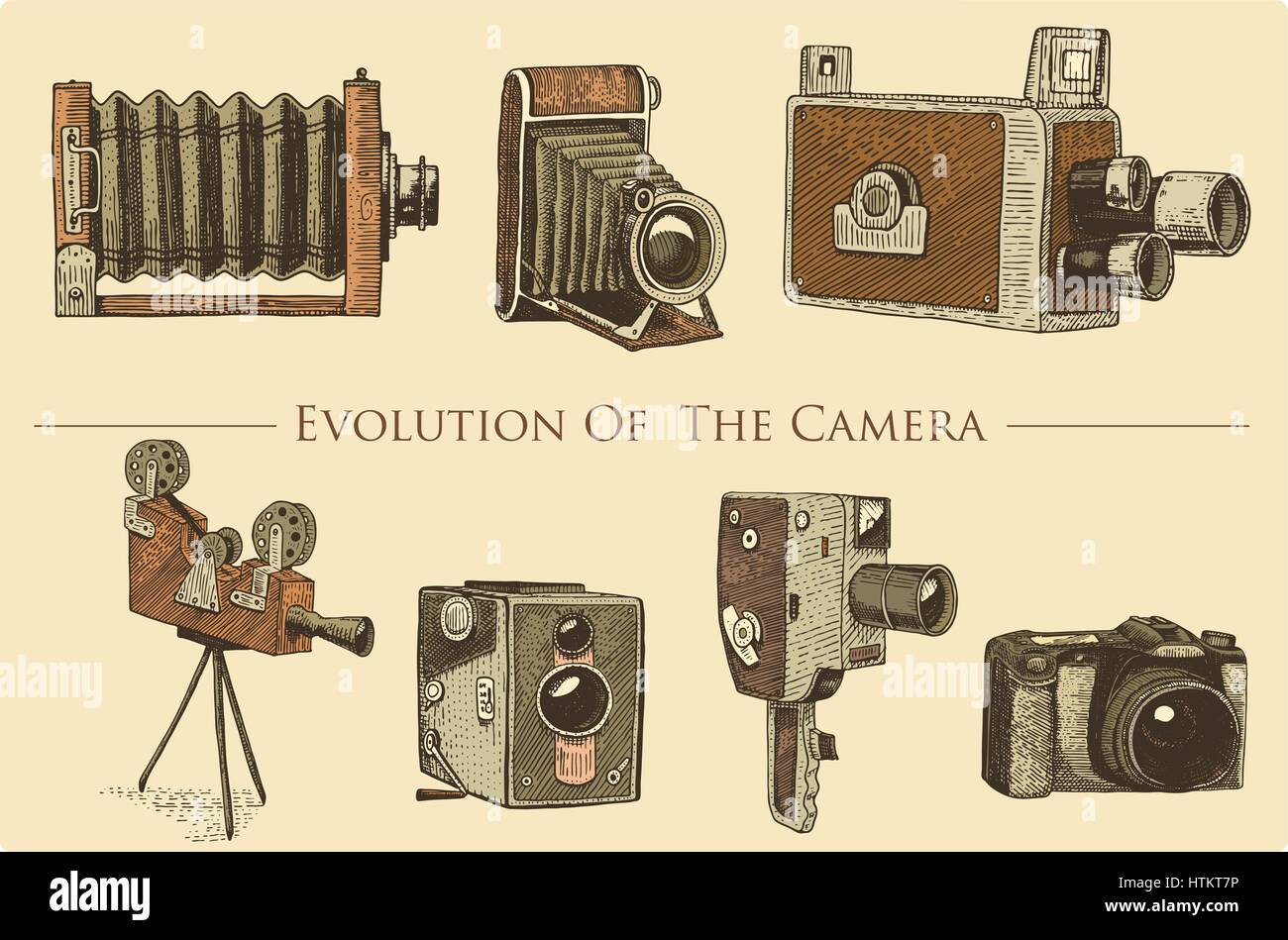 evolution of the photo video film movie camera from first till now vintage engraved hand drawn in sketch or wood cut style old looking retro lens