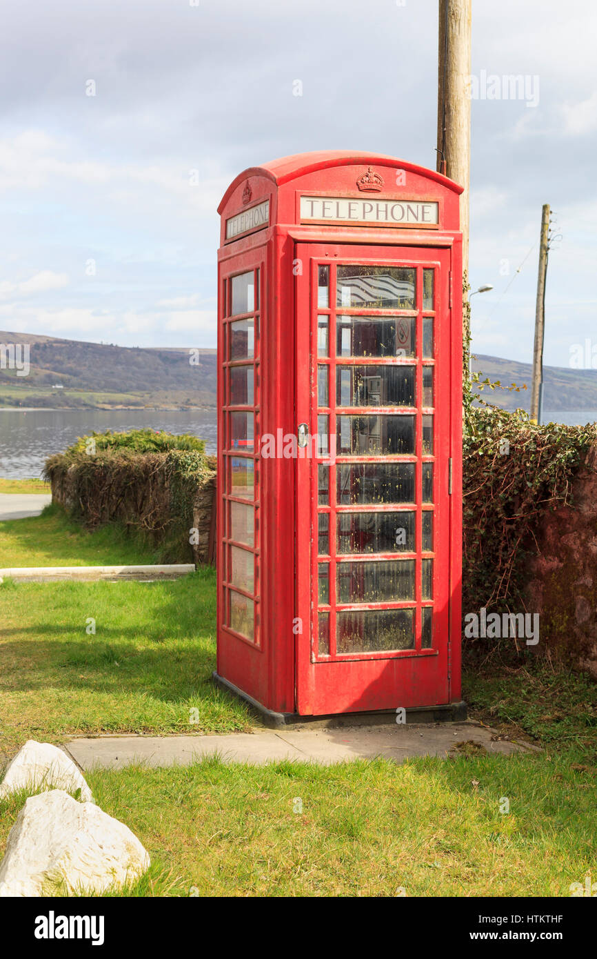 Typically British red telephone box. Tighnabruaich, Argyll & Bute, Scotland, UK  Model Release: No.  Property - Stock Image