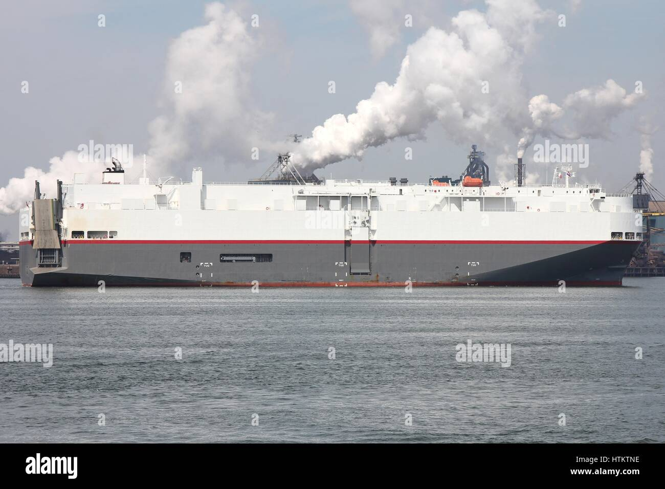 pure car and truck carrier entering harbor - Stock Image