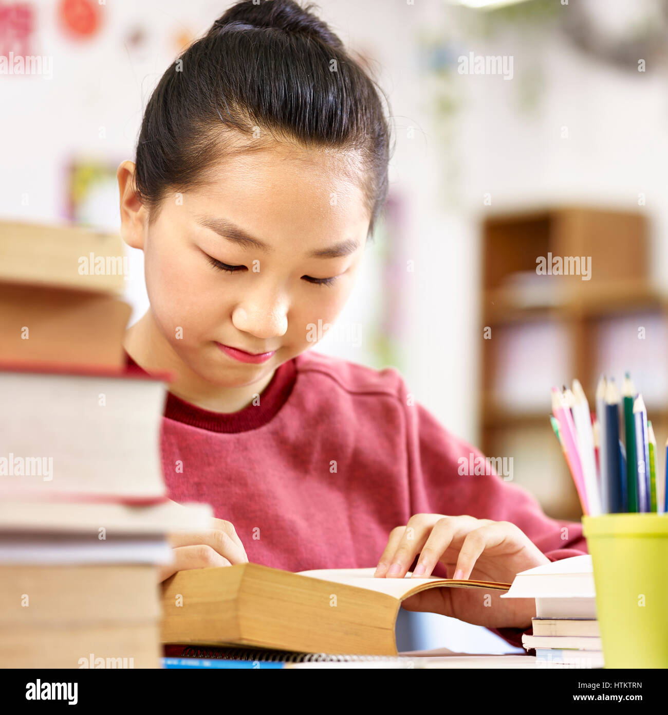 asian elementary schoolgirl reading a thick book in classroom. - Stock Image